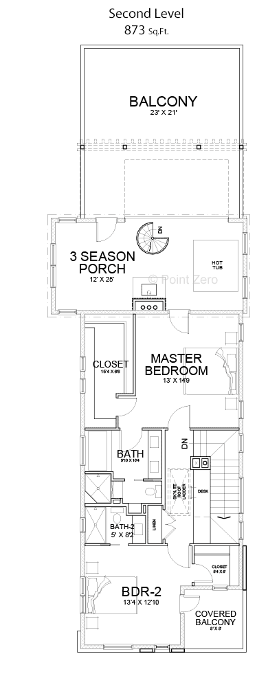 Second story with 3 season porch floor plan
