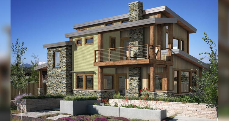 The West Ports modern exterior includes timber accents and stone.